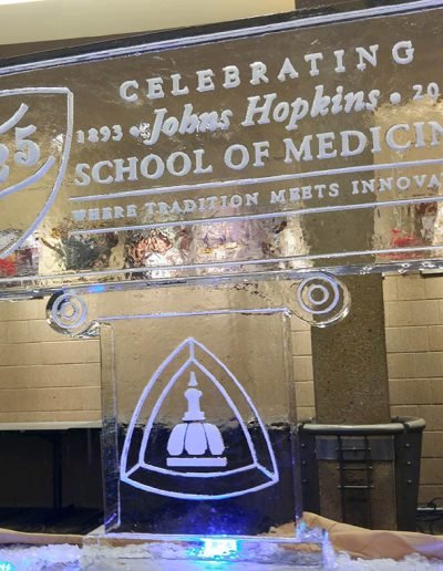 Ice Sculpture Logo 029 Johns Hopkins Medical School